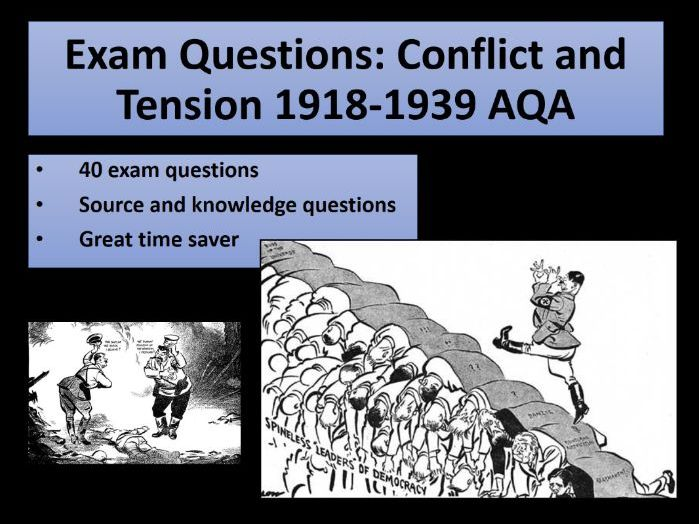 Exam Questions: Conflict and Tension 1918-1939 AQA - Pack of over 40 different questions