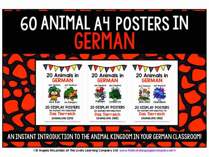 GERMAN FOR CHILDREN - 60 ANIMALS POSTERS / FLASHCARDS