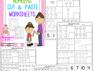 Mother's Day Numbers Cut&Paste(1-20):