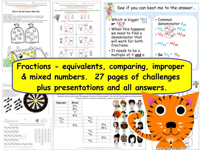 Fractions - Y5 Equivalents, comparing, improper & mixed, differentiated challenges + presentations