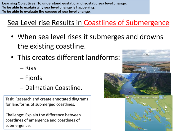 A Level Geography Lesson- Sea Level Changes- Coastal Systems.
