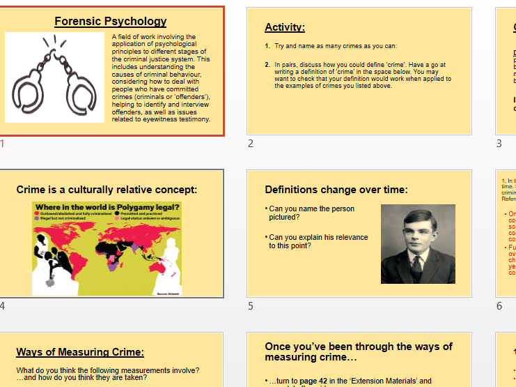 Forensic Psychology Powerpoint To Accompany Booklet Teaching Resources