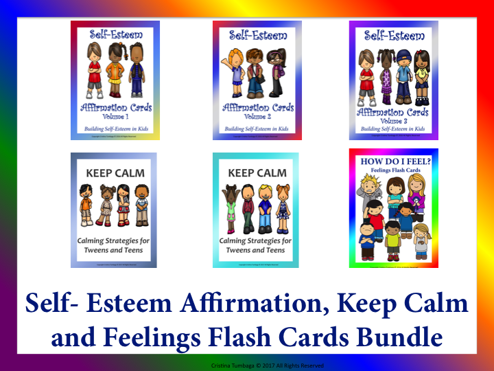 Self-Esteem Affirmation, Keep Calm and Feelings Flash Cards Bundle