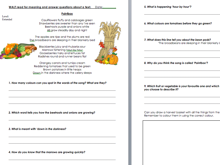 Harvest Comprehension based on song Cauliflowers Fluffy (Paintbox)
