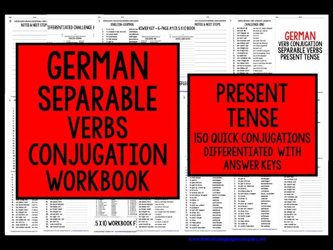 GERMAN SEPARABLE VERBS PRESENT TENSE REVISION