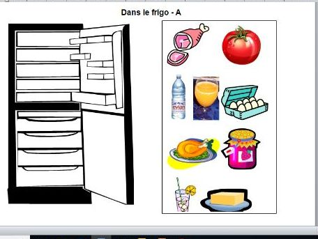 Dans le frigo - a food / drink speaking activity for KS3 to practise il y a / il n'y a pas de
