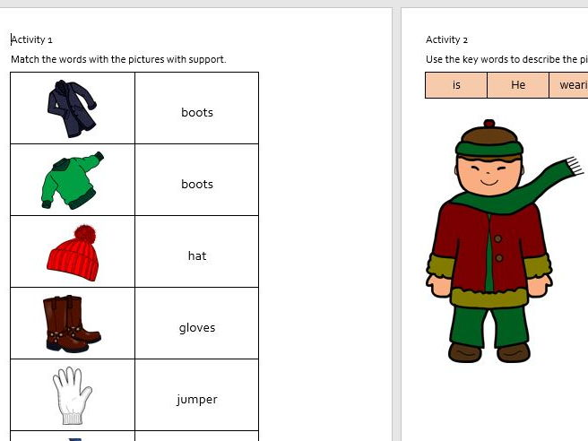 EAL Literacy Topic 15 - Winter clothes