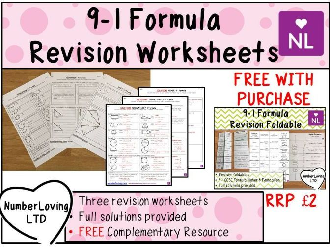 9-1 Formula Revision Worksheets