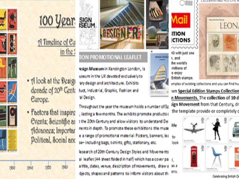 C.20th Design Movements plus 2 design worksheets