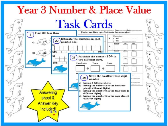 Year 3 Number & Place Value Task Cards