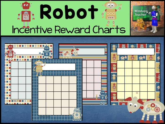 Robot Sticker Charts for Boys and Girls