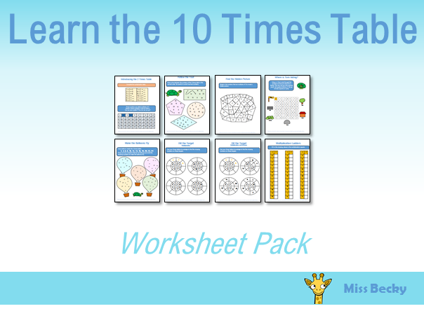 10 Times Table Worksheet Pack