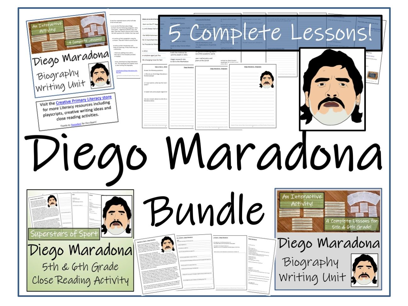 UKS2 Literacy - Bundle of Diego Maradona Activities