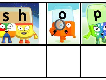Alphablocks themed phoneme frames - phase 3 set 2