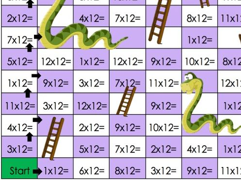 Snakes and ladders 12 times table challenge