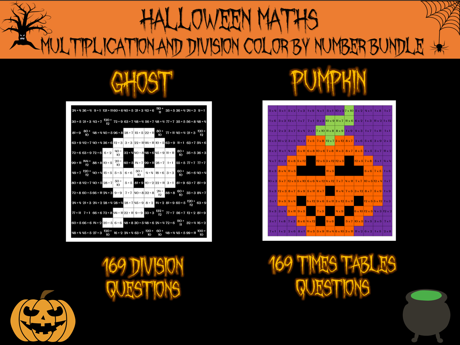 Halloween Maths - Halloween colour by number bundle (x and ÷)