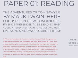 GCSE Language Paper 01: Reading Questions: The Adventures of Tom Sawyer