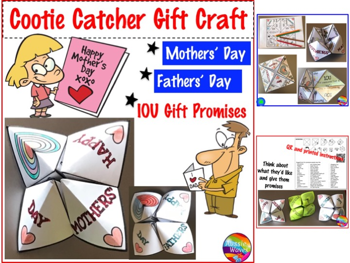 Mothers' Day and Fathers' Day Fortune Teller Craft for Gift Vouchers or Promises