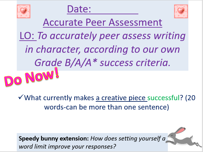 Outstanding Lesson - Accurately peer assessing creative writing