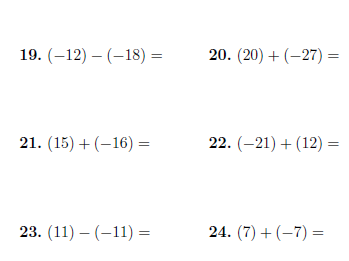 Adding and subtracting positive and negative numbers worksheet (with answers)