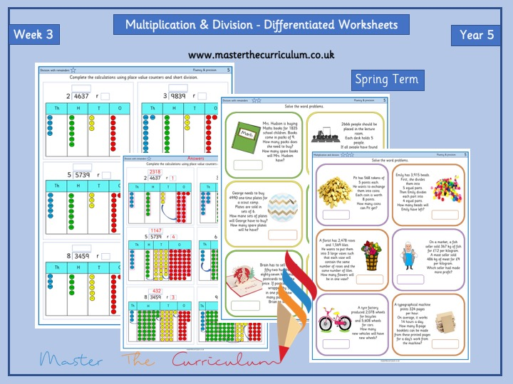 Yr 5- Spring- Block 1- Week 3 -Multiplication & Division Differentiated Worksheets- White Rose Style