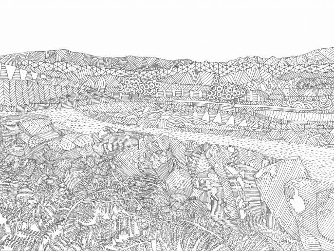 Lake District: Mountain and Wall Colouring Page