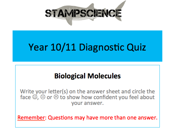 Biological Molecules Diagnostic Quiz AfL