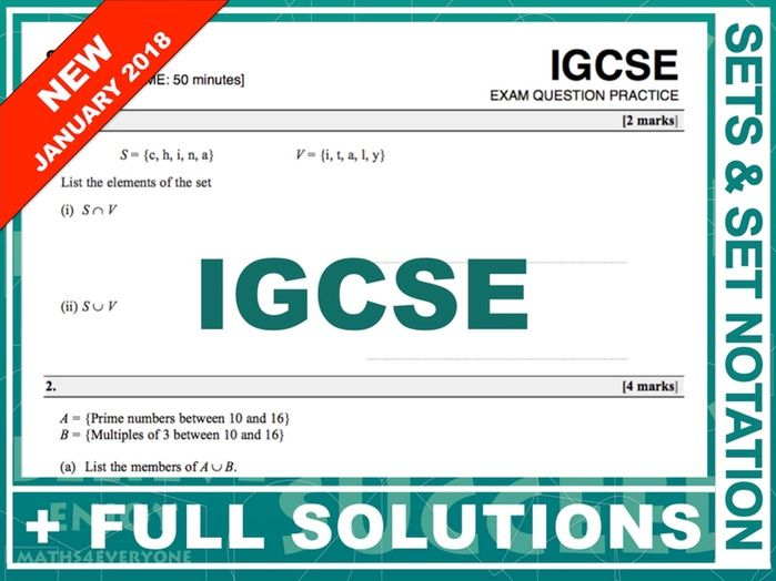 igcse 9 1 exam question practice sets set notation by