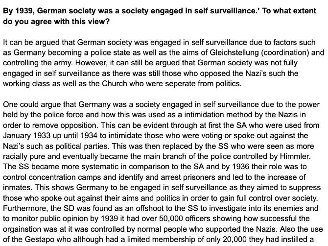 A Level History Germany - By 1939, German society was a society engaged in self  surveillance.