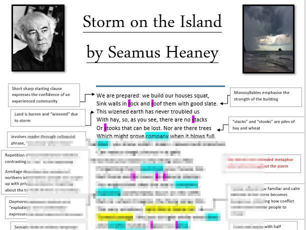 LEVEL 9 Storm on the Island poem annotations, analysis and context sheet