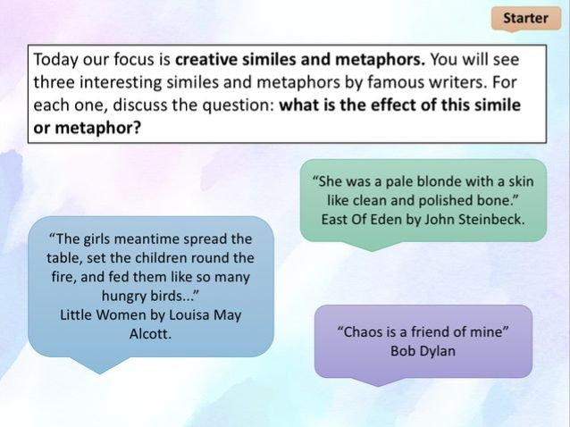 Figurative language - writing powerful similes and metaphors