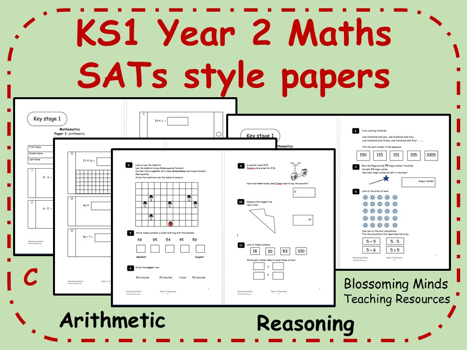 KS1 Year 2 Maths SATs style papers (C) - Arithmetic and Reasoning