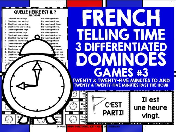 FRENCH TELLING TIME DOMINOES 3