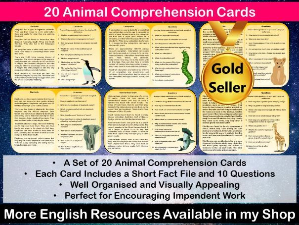 20 Animal Reading Comprehension Cards