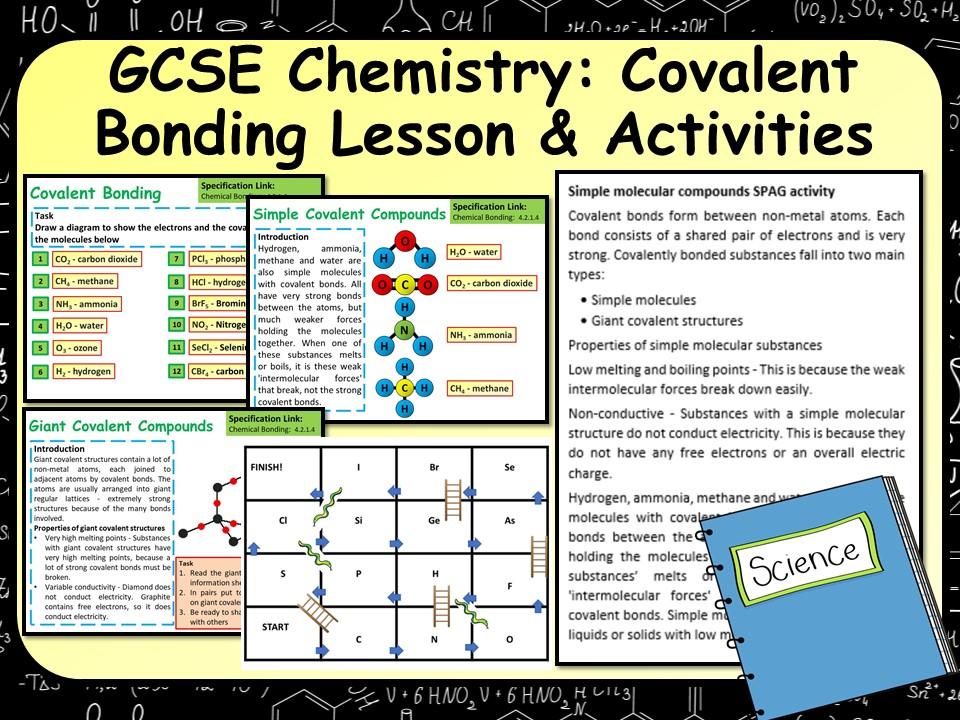 KS4 AQA GCSE Chemistry (Science) Covalent Bonding Lesson & Activities