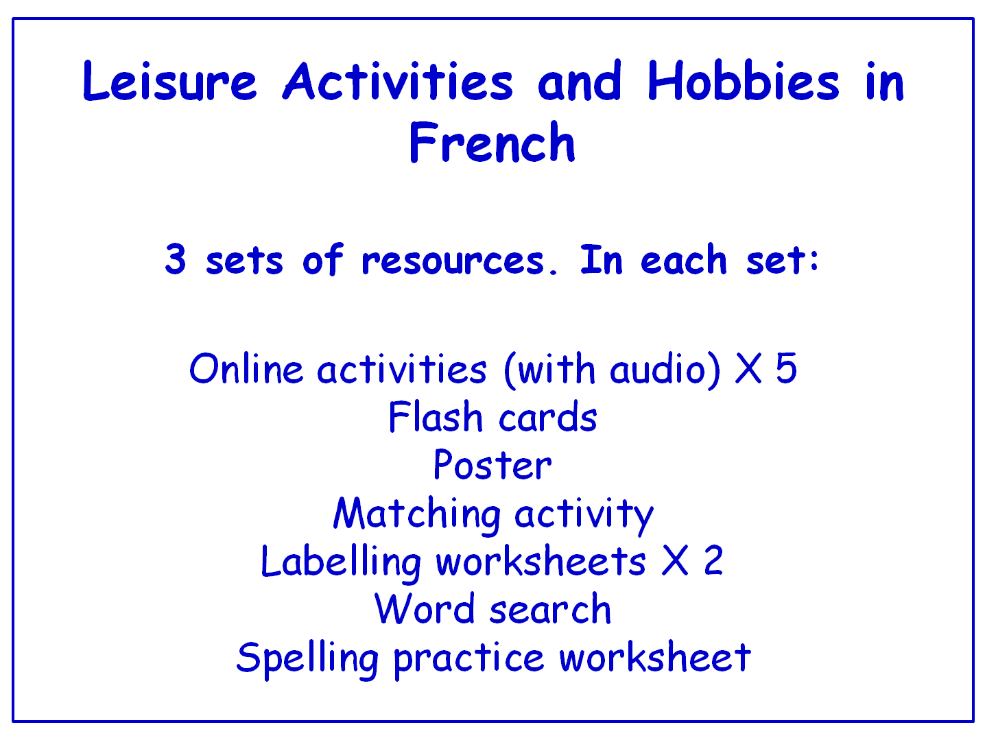 Leisure Activities and Hobbies in Spanish  Worksheets, Games, Activities and Flash Cards (with audio) Bundle (3 sets)