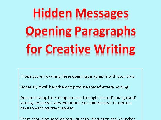Story Starters / Opening Paragraphs - Hidden Messages