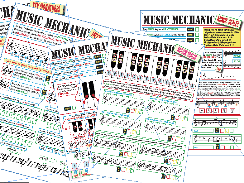 Music Mechanic: MAJOR MINOR Scales and INTERVALS. Facts and worksheets AND TEXTURES.
