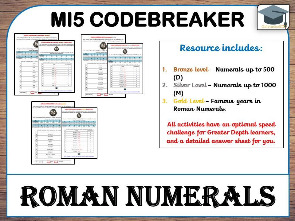 Roman Numerals MI5 Codebreaker (Differentiated with answers)