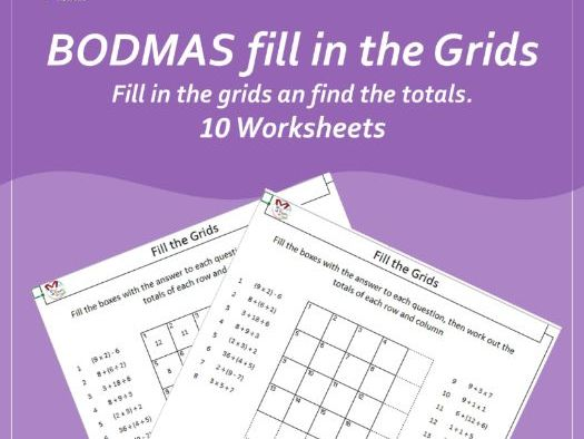 Fill the Grids BODMAS (Order of operations)