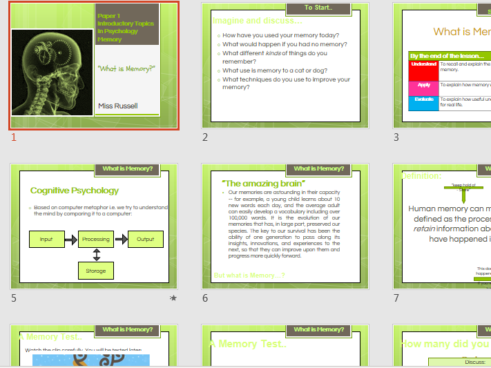 AQA A Level Psychology Memory Powerpoints