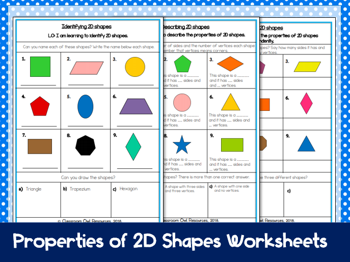Year 2 Maths: Identifying properties of 2D shapes (differentiated worksheets)