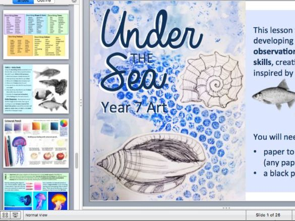 Art Lessons Under the Sea Theme - drawing, research and collage