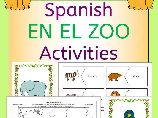 Spanish Zoo Animals - En El Zoo - Activities Pack