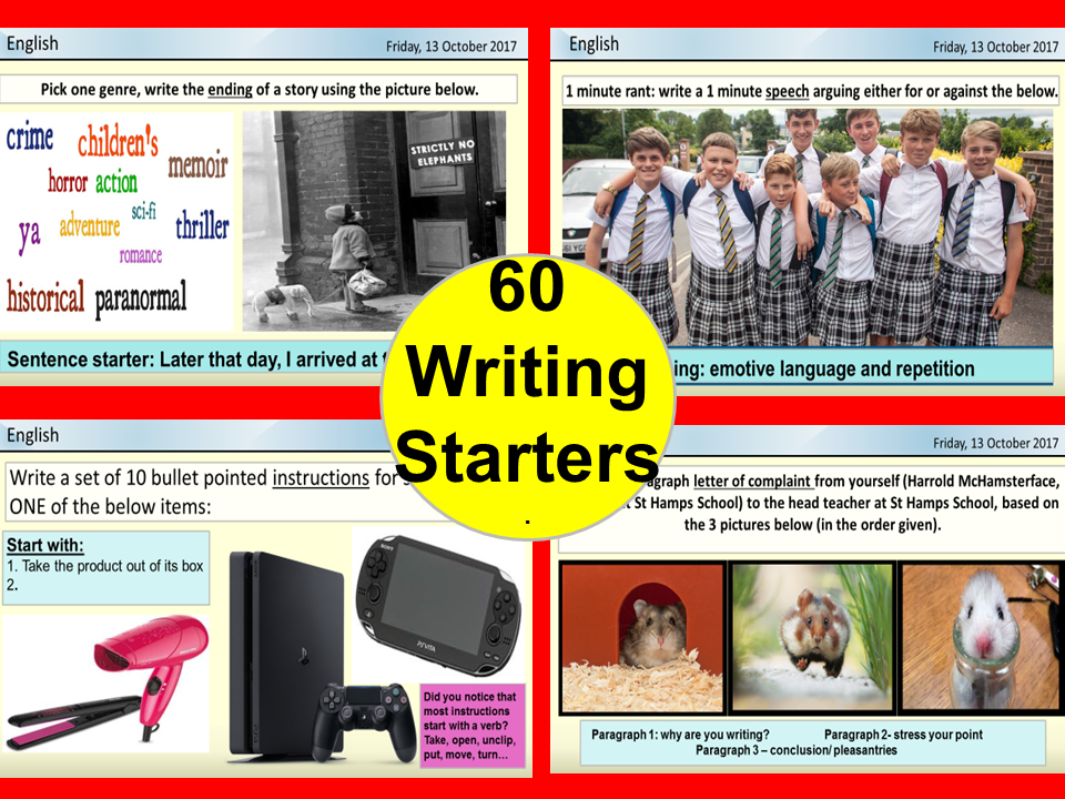 60 WRITING STARTERS- for English  &  literacy. Inc VCOP, SPAG,DEVICES, 25 types of writing