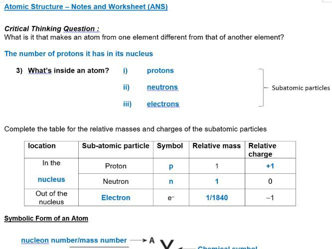 Atomic Structure Notes & Worksheet with Answers