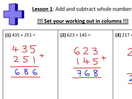 Integers and decimals 4 operations/Arithmetic retention work