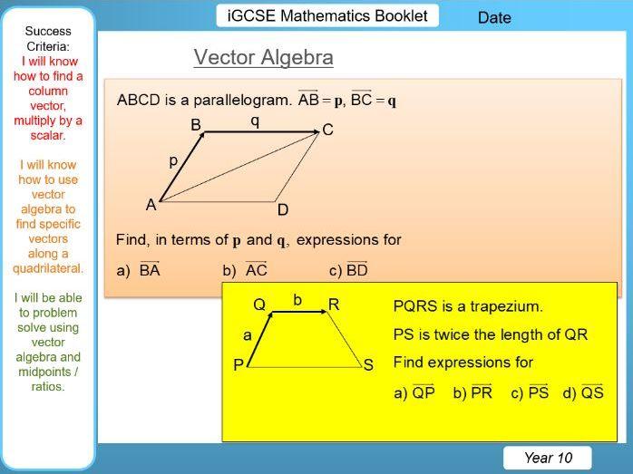 iGCSE Booklet - Vector Algebra