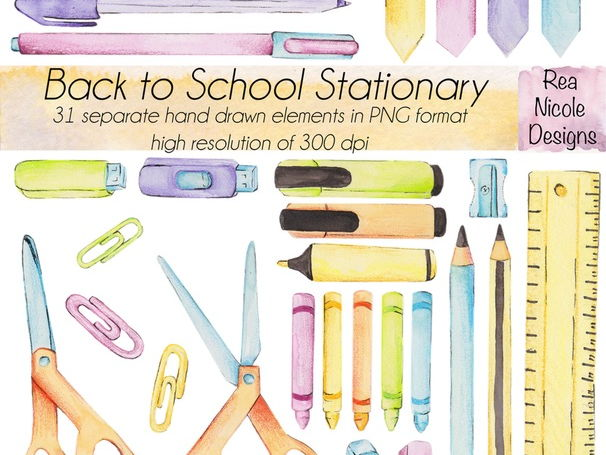 Back to school stationary clipart