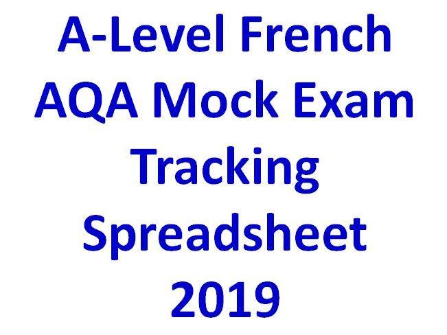 A-Level French AQA Mock Exam Tracking Spreadsheet  2019